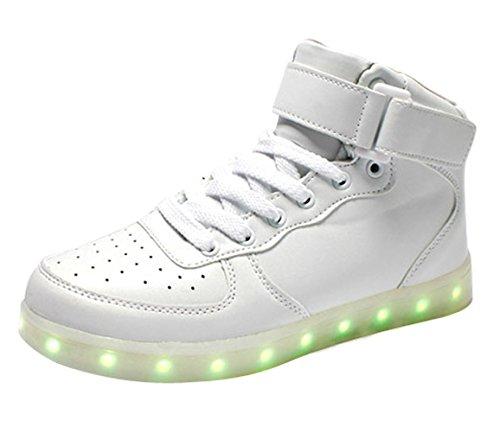 Bianco Usb Carica Sneaker Luminosi Sportive Adulto Scarpe Led Colore Top 7 Alto Lampeggiante Unisex Myroads qXfE66
