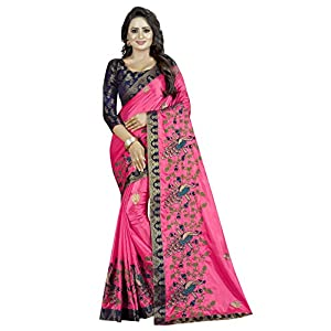 Shreeji Women's Jacquard Paper Silk Saree With un-stitched Blouse Piece