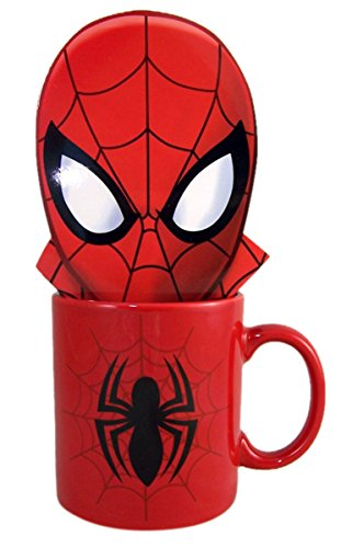 Marvel Character Mug Holiday Gift Set with Double Chocolate Cocoa Mix (Spiderman)
