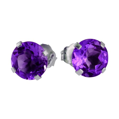14k White Gold 6mm Round Amethyst Stud Earrings (1.35 ()
