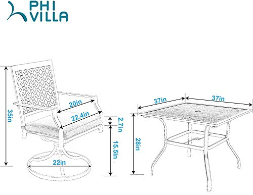 Garden and Outdoor PHI VILLA Patio Dining Set 5 Pieces 1 Wood Like Square Garden Umbrella Table and 4 Swivel Chairs Support 300 lbs for… patio dining sets
