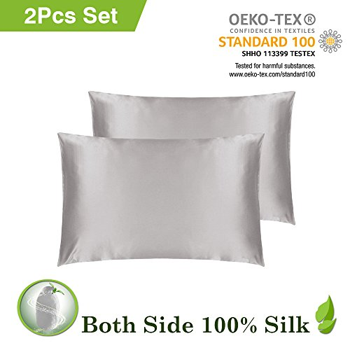LILYSILK 2-Pack Silk Pillowcase On Both Sides Envelope Closure 100% Pure Mulberry  Silk 79a68f7cf5bd