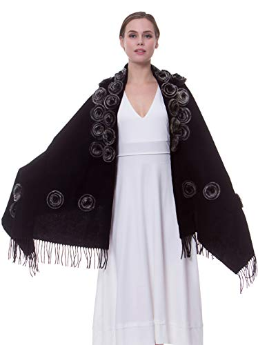 (MORCOE Women's Exotic Design 100% Wool Rabbit Fur Roses Soft Scarf Warm Wrap Evening Party Pashmina Shawl Gift (Black))