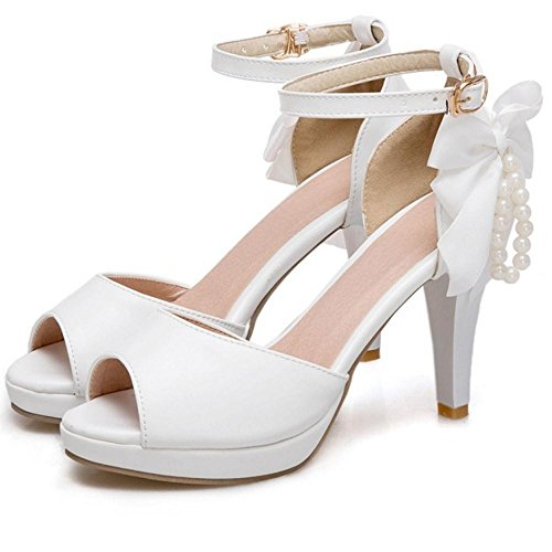 Toe Big TAOFFEN Peep Women Sandals Shoes Bow White SBq4Eqx