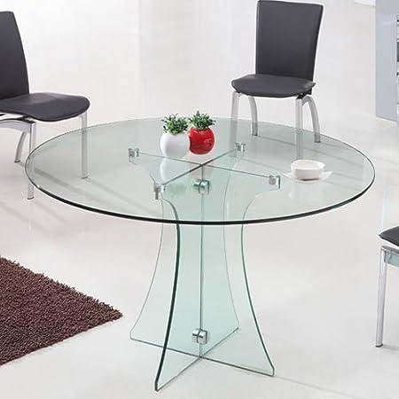 Tavoli Tondi In Cristallo.Tavolo Rotondo In Vetro Diametro 120 Cm Trasparente Amazon It