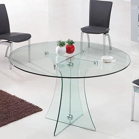 Tavolo Rotondo Di Cristallo.Tavolo Rotondo In Vetro Diametro 120 Cm Trasparente
