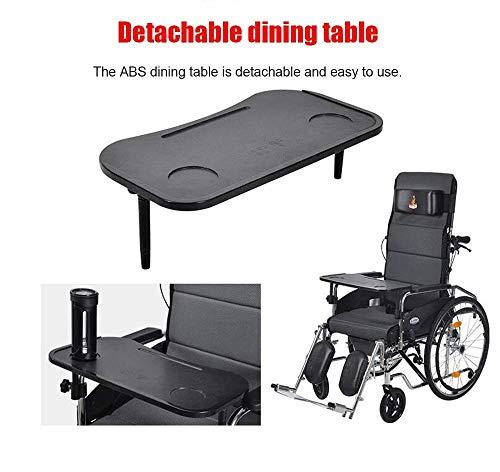 Portable Wheelchairs 23Kg Transport Medical Control Backrest Seat 100Kg Load Bearing 47 45Cm Seat-Detachable Desktop-Commode,Elderly Disabled,Black,Blue