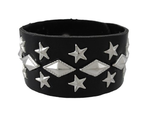 (Things2Die4 Black Vinyl Star Studded Wristband with Pyramid Studs)