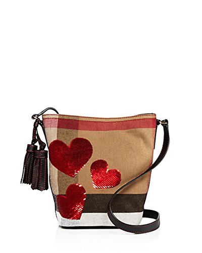 Burberry Canvas Check Sequin Heart Mini Ashby Crossbody