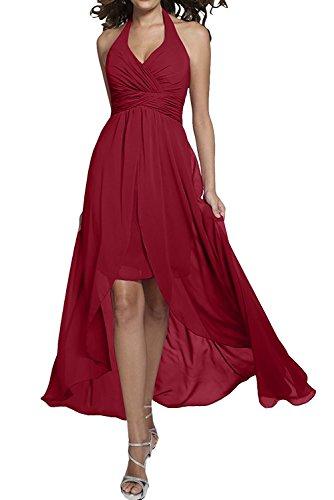 Ausschnitt Blau Rock La A Chiffon Brautjungfernkleider Rot Linie Dunkel Ballkleider mia Elegant Abendkleider Lang Braut V qxxHYf