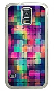 Shocklock Colorful Square Pattern Samsung Galaxy S5 Transparent Sides Hard Shell Case