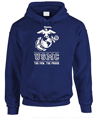 THE FEW THE PROUD THE MARINES usmc marine - Mens Pullover Hoodie, L, Navy