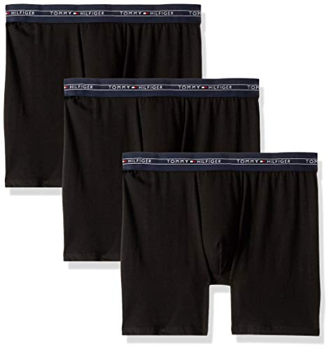(Tommy Hilfiger Men's Cotton Air 3 Pack Boxer Brief, Black, Small)