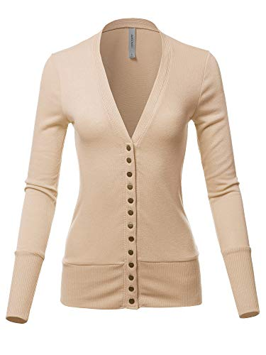 (Causal Snap Button Long Sleeves Everyday Cardigan Sand Size S)