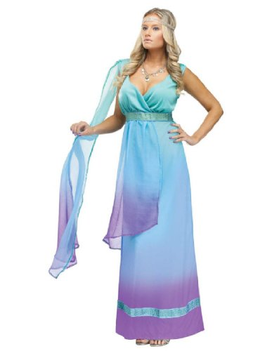 Sea Goddess Adult Costumes (FunWorld Sea Queen, Aqua/Purple, Medium/Large 10-14 Costume)