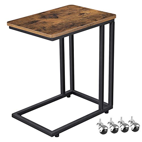 VASAGLE Industrial Side Table, Mobile Snack Table for Coffee Laptop Tablet, Slides Next to Sofa Couch, Wood Look Accent Furniture with Metal Frame ULNT50X