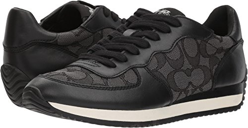 Coach Women's Farrah Black Smoke/Black Signature Jacquard 8.5 M (Coach Sneakers)