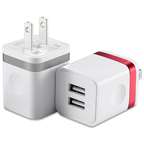 HI-CABLE USB Wall Charger, (UL Certified) 2-Pack 2.1A/5V Dual Port USB Plug Power Adapter Charging Block Cube Compatible with iPhone X XR Xs Max/8/7/6/6S Plus SE/5S, iPad, Samsung, Android Cell Phones
