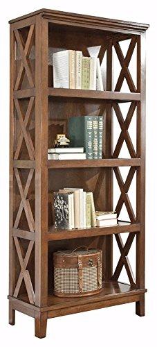 Ashley Furniture Signature Design – Burkesville Bookcase – 4 Shelves – Vintage Casual – Medium Brown For Sale