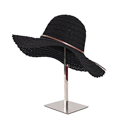 EsTong Women s Wide Brim Travel Folding Packable Dress Caps Summer Beach UV  Sun Hats Black 7f713dc1a50a