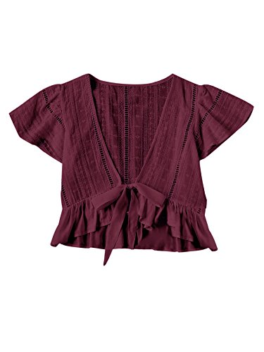 Floerns Women's Summer Plunging V-Neckline Knot Frill Hem Dip Hem Top Burgundy One-Size