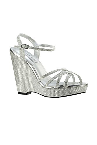 David's Bridal Jaden Shimmer Quarter Strap Wedge Sandals Style 4156, Silver, 8