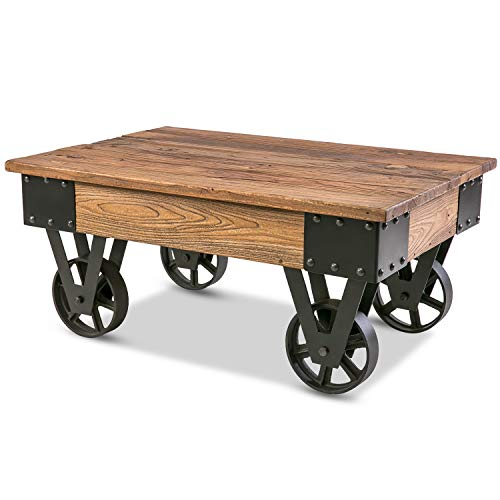 Rustic Country Coffee Table with Metal Wheels