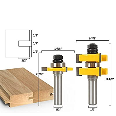 """2pc 1/2"""" Shank Tongue & Groove Router Bit Set - Large Stock up to 1-1/4"""" Woodworking cutter Tenon Cutter for Woodworking Tools"""