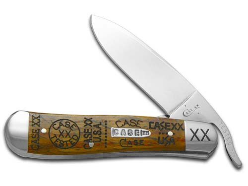 CASE XX Tang Stamps Curly Oak Wood Russlock Stainless Pocket Knife Knives