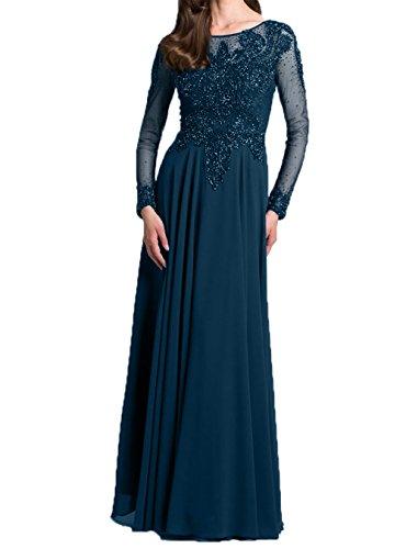 Blau Damen mit Promkleider Dunkel Neu Partykleider Abendkleider Langarm Ballkleider Charmant 2018 Elegant Brautmutter 7wxq6q1Ud