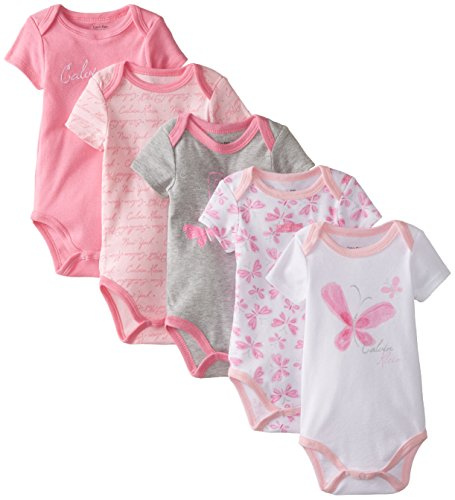 Calvin Klein Baby-Girls Newborn 5 Pack Bodysuits Pink Grey White Group, Multi, 6-9 Months