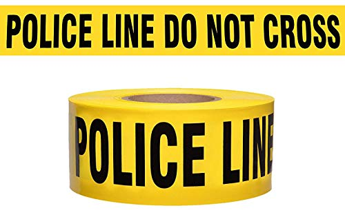 Police LINE DO NOT Cross Barricade Tape Merco M234-3in x 1000ft x 3mil Yellow/Black - a Full case of 8 Rolls