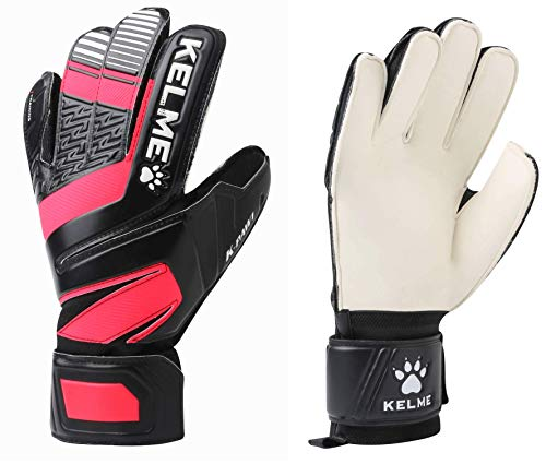 - KELME Soccer Goalkeeper Gloves - Indoor and Outdoor - Training Goalie Gloves for Adults and Kids with Finger Protection (Black/Red, Size 7)
