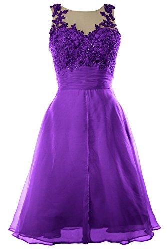 MACloth Women Straps Lace Chiffon Short Prom Dress Homecoming Formal Gown Morado
