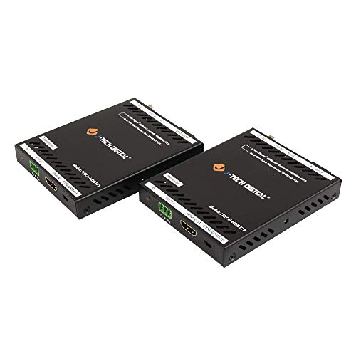 J-Tech Digital HDBaseT HDMI Extender 4K@60 420 Ultra HD Extender Over Single Cable CAT5e/6A up to 230ft (1080P) 130ft(4K) Supports HDCP 2.2/1.4, RS232, Bi-Directional IR and PoE