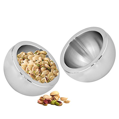 Kosma Set of 2 Stainless Steel Double Wall Dual Angle Bowls - Designer Serving Bowl Set, Size 12cm x 7.5cm | Durable Kitchenware by Kosma