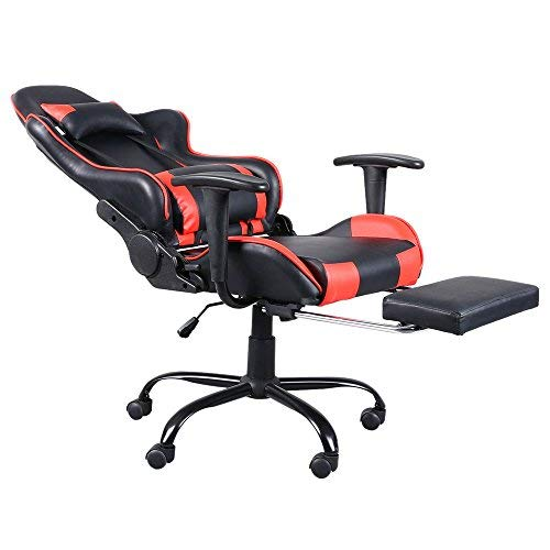 Teekland High Back Swivel Chair Racing Gaming Chair Office Chair with Footrest Tier Black & Red