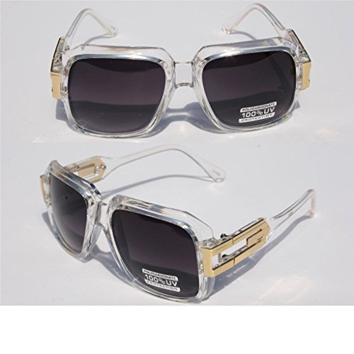 Square Gazelle Style SunGlasses Gold Metal Accents DMC - Multi Selection Clear Frame