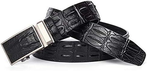 Herren Gürtel Männer Geprägte Hohe Qualität Leder Automatische Schnalle Business Casual hochwertigen Weichen Gürtel-Leder/Männer/Schwarz/Braun Trim Paßgenau (Color : Black)