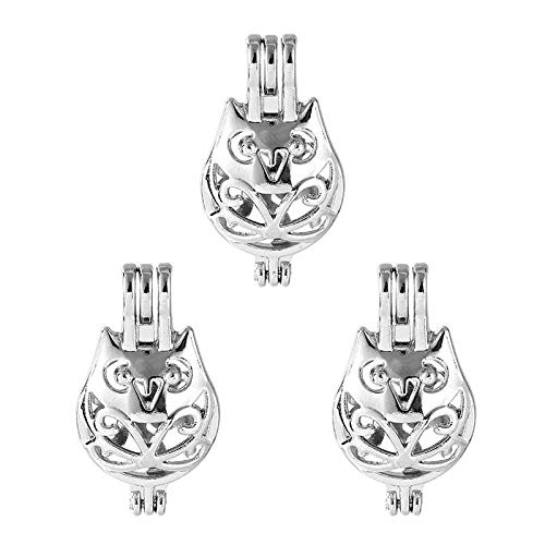 (5X Silver Plated Cartoon Owl Bird Pearl Cage Locket Pendant for Wish)