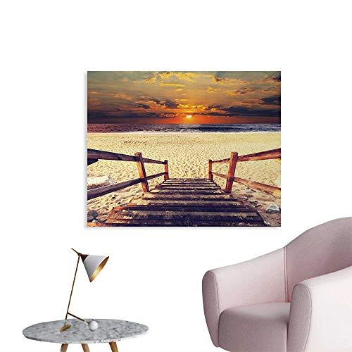 Tudouhoho Beach Custom Poster Stairs Lead to The Beach with Dramatic Horizon Scenery Magic Skyline Solitude Print Photo Wall Paper Orange Cream W48 xL32