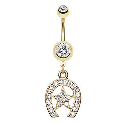 Golden Star Lucky Horseshoe 316L Gold Plated Steel Freedom Fashion Belly Button Ring (Sold by Piece)
