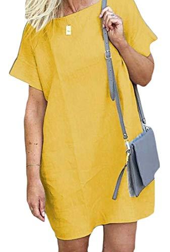 Jotebriyo Women Summer Plus Size Cotton Linen Short-Sleeve Loose Plain Beach Party Midi Dress
