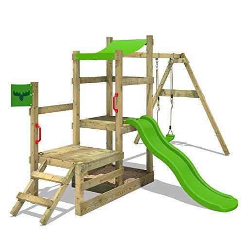 41aCvkHXyhL. SS500 XXL Parque infantil con 2 niveles de juego, columpio, tobogán, cajón de arena y escalera para trepar Viga de columpio de 9x9cm, postes verticales de 7x7cm - Made in Germany - Calidad-y- seguridad verificadas Instrucciones de montaje detalladas para un montaje fácil - Cajón de arena integrado XXL