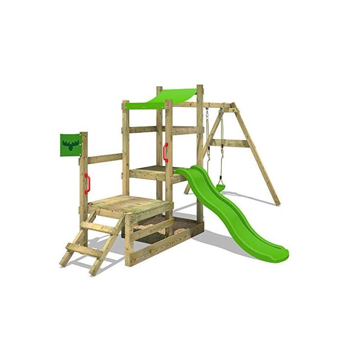 41aCvkHXyhL XXL Parque infantil con 2 niveles de juego, columpio, tobogán, cajón de arena y escalera para trepar Viga de columpio de 9x9cm, postes verticales de 7x7cm - Made in Germany - Calidad-y- seguridad verificadas Instrucciones de montaje detalladas para un montaje fácil - Cajón de arena integrado XXL
