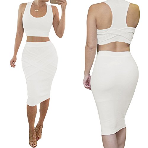 [Bess Bridal Womens Crop Top Midi Sexy Outfit Two Pieces Bodycon Bandage Dresses] (Sexy Women In Sexy Outfits)