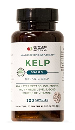 Organic Sea Kelp Powder Supplement - 550mg Capsules 100 Pills Powdered Raw Seaweed & Thyroid Support Supplement
