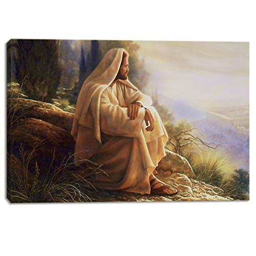 - KALAWA Gethsemane Jesus Picture Framed Wall Decor for Living Room Christian Faith Jesus Wall Poster Retro Canvas Painting Prints Framed and Stretched Ready to Hang(28''W x 44''H)