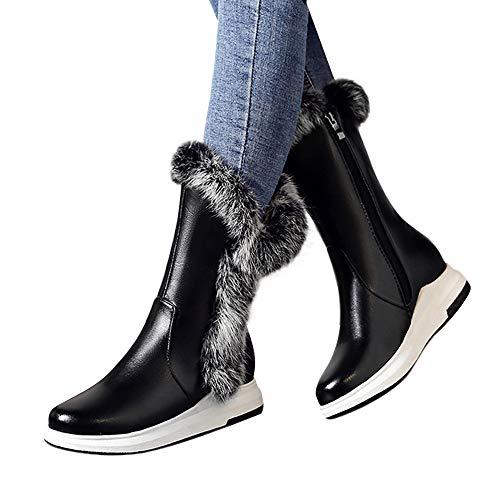 Noir Femmes Neige De Osyard Synthétique Cavalière Confort Hiver Plat En Bottes Chaussures Cuissardes Cuir Bas Fourrées Fourrure Boots Ville Z5xwqB5S