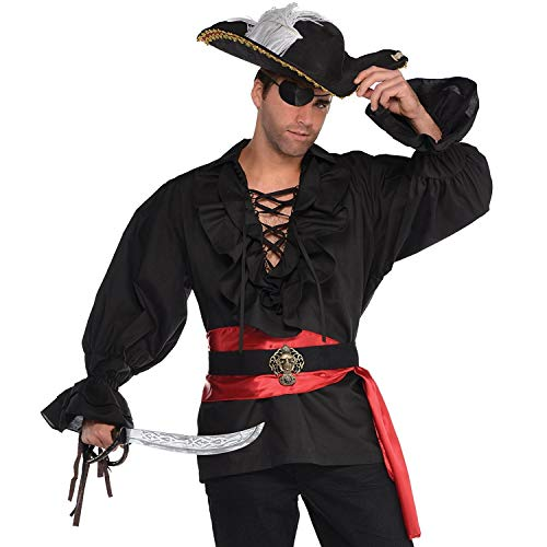 AMSCAN Black Pirate Shirt Deluxe Halloween Costume Accessory for Men, One Size ()